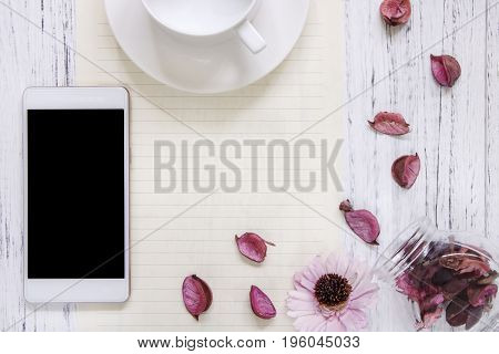 Flat Lay Stock Photography Purple Flower Petals Glass Bottle Morden Smart Phone Mock Up Ceramic Coff