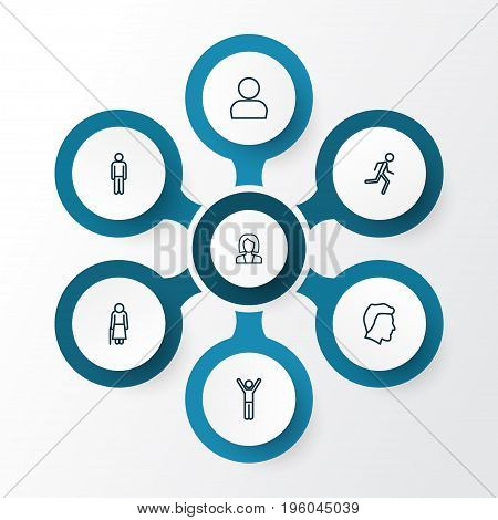 Human Outline Icons Set. Collection Of Business, Profile, Running And Other Elements