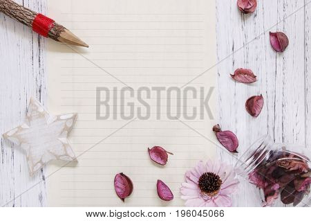 Flat Lay Stock Photography Purple Flower Petals Glass Bottle Star Wood Craft Pencil