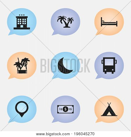 Set Of 9 Editable Travel Icons. Includes Symbols Such As Omnibus, Camping, Crescent And More