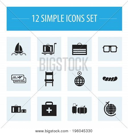 Set Of 12 Editable Holiday Icons. Includes Symbols Such As Briefcase, Boarding Pass, Bratwurst And More