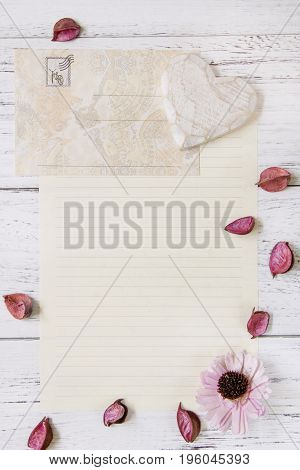 Flat Lay Stock Photography Purple Flower Petals Letter Envelope Paper Wood Heart Craft
