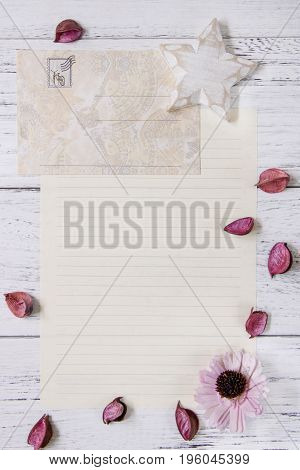 Flat Lay Stock Photography Purple Flower Petals Glass Bottle White Wood Star Craft