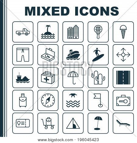 Travel Icons Set. Collection Of Vehicle Car, Boardsports, Globe Search And Other Elements