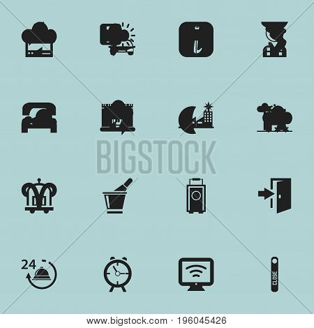 Set Of 16 Editable Motel Icons. Includes Symbols Such As Champagne, Sleeping, Hostel And More