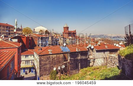 Fener district with Phanar Greek Orthodox College or Phanar Roman Orthodox Lyceum known is the oldest surviving and most prestigious Greek Orthodox school in Istanbul Turkey