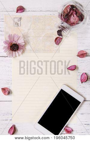 Flat Lay Stock Photography Purple Flower Petals Letter Envelope Paper Glass Bottle Smart Phone Mock