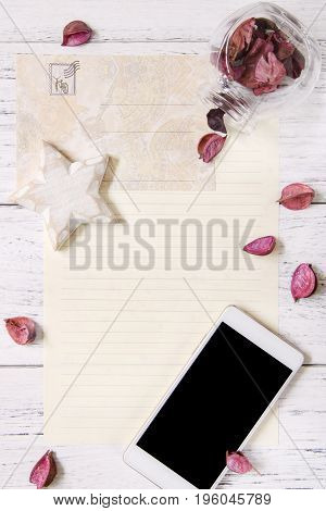 Flat Lay Stock Photography Purple Flower Petals Letter Envelope Paper Glass Bottle Wood Star Craft S