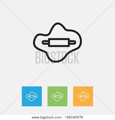 Vector Illustration Of Cooking Symbol On Dough Outline