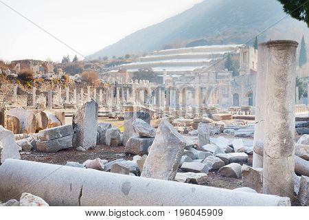 Roman stone pillars and terraced hosues ruins from agora in ephesus Archaeological site in turkey