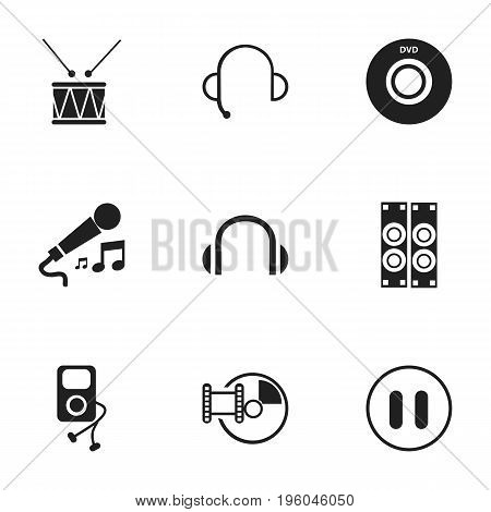 Set Of 9 Editable Melody Icons. Includes Symbols Such As Digital Versatile Disc, Megaphone, Memory And More