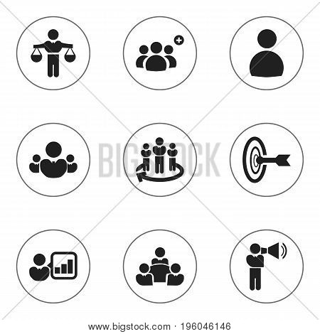 Set Of 9 Editable Community Icons. Includes Symbols Such As Introducing, Corporate, Goal And More