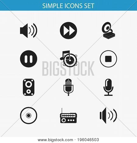 Set Of 12 Editable Song Icons. Includes Symbols Such As Microphone, Sound, Break Music And More