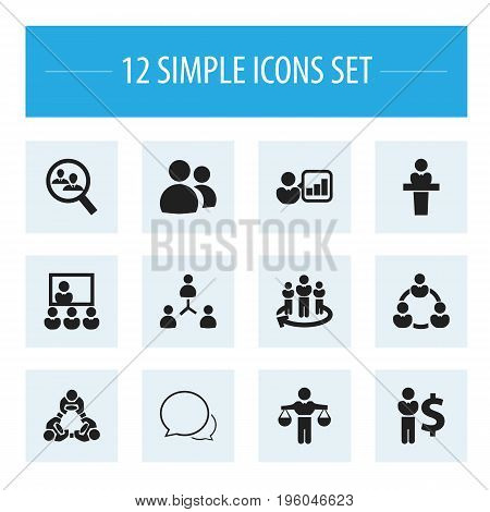 Set Of 12 Editable Business Icons. Includes Symbols Such As Team, Partnership, Conversation And More