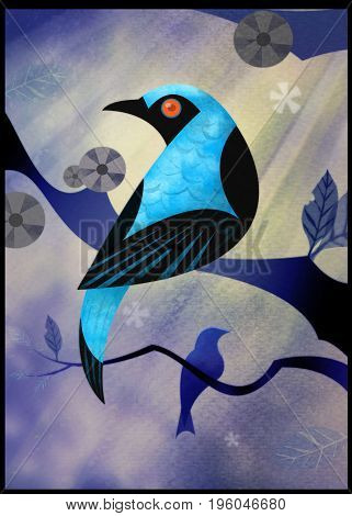 A Fairy Bluebird illustration, inspired by trips to the jungles of Thailand