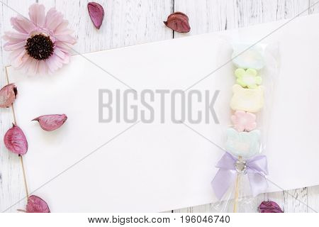 Stock Photography Flat Lay Vintage White Painted Wood Table Note Book Paper Purple Flower Petals Cot