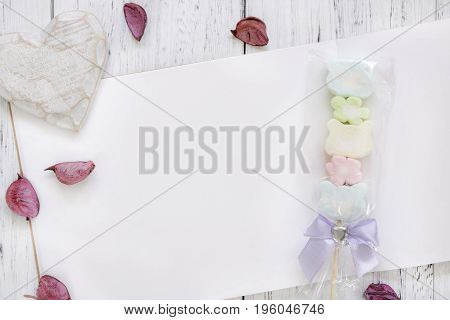 Stock Photography Flat Lay Vintage White Painted Wood Table Note Book Paper Flower Petals Cotton Can