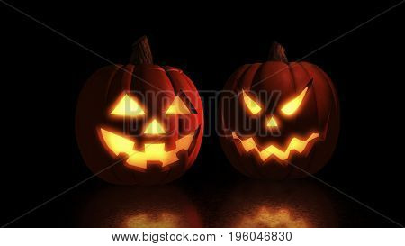 Scary Halloween Pumpkins Isolated On A Black Background. Scary Glowing Faces Trick Or Treat 3D Illus