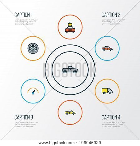 Car Colorful Outline Icons Set. Collection Of Sport, Auto, Track And Other Elements