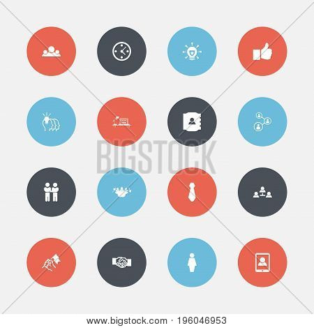 Set Of 16 Editable Business Icons. Includes Symbols Such As Idea, Greeting, Contact Book And More