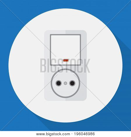 Vector Illustration Of Electrical Symbol On Switch With Socket Flat Icon