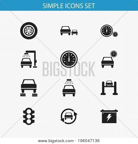 Set Of 12 Editable Vehicle Icons. Includes Symbols Such As Vehicle Wash, Service, Race And More