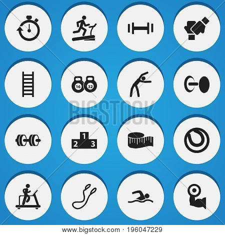 Set Of 16 Editable Healthy Icons. Includes Symbols Such As Strength, Game Ball, Training Pool And More