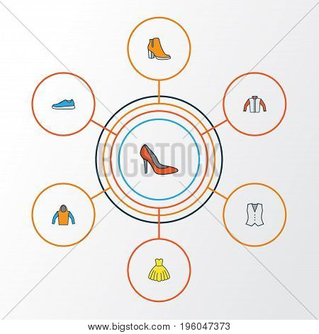 Garment Colorful Outline Icons Set. Collection Of Female Boots, Vest, Sneakers And Other Elements