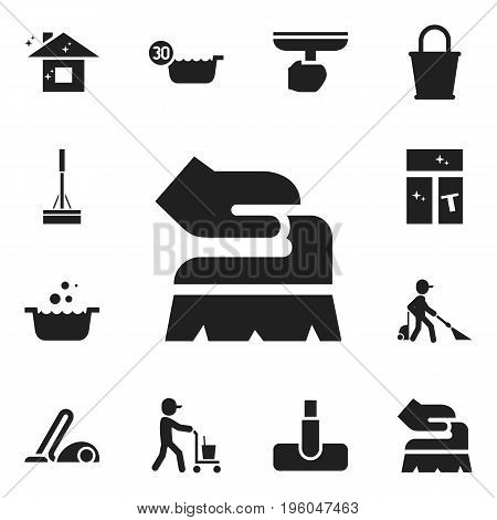 Set Of 12 Editable Cleaning Icons. Includes Symbols Such As Pure Home, Tub, Hoover And More