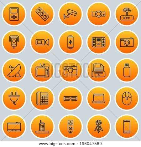 Hardware Icons Set. Collection Of Antenna, Usb, Switch And Other Elements
