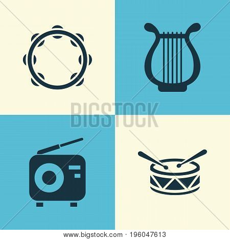 Multimedia Icons Set. Collection Of Tuner, Lyre, Timbrel And Other Elements