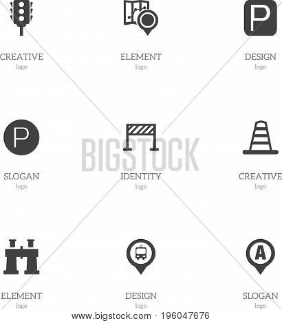 Set Of 9 Editable Direction Icons. Includes Symbols Such As Street Construction, Spyglass, Gps And More