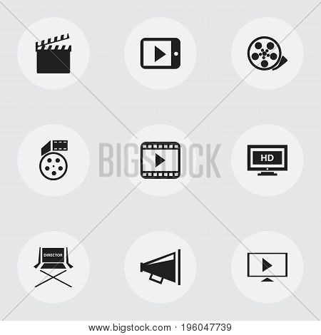 Set Of 9 Editable Filming Icons. Includes Symbols Such As Loudspeaker, Shooting Seat, Tape And More