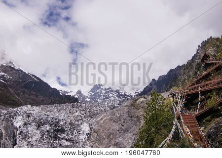 Meili Snow Mountain Climbing Trails In Yunnan Province, China