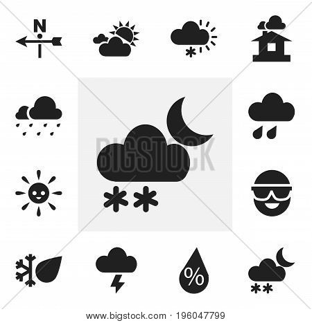 Set Of 12 Editable Weather Icons. Includes Symbols Such As Clouded Sunshine, Wind Direction, Frosty And More