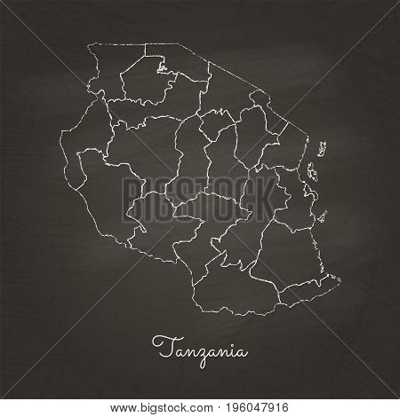 Tanzania Region Map: Hand Drawn With White Chalk On School Blackboard Texture. Detailed Map Of Tanza