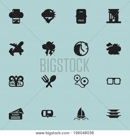 Set Of 16 Editable Travel Icons. Includes Symbols Such As Aircraft, Yacht, Dishes And More