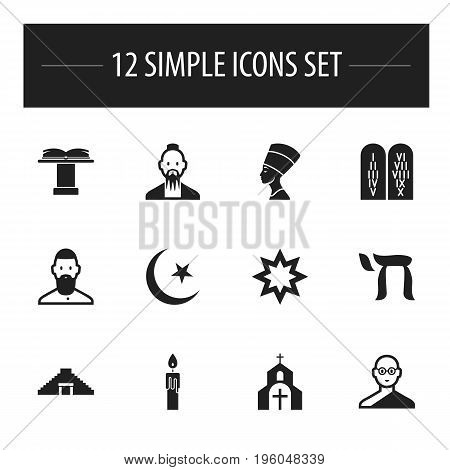 Set Of 12 Editable Dyne Icons. Includes Symbols Such As Pyramid, Ancient Stone Text, Mohammedanism And More