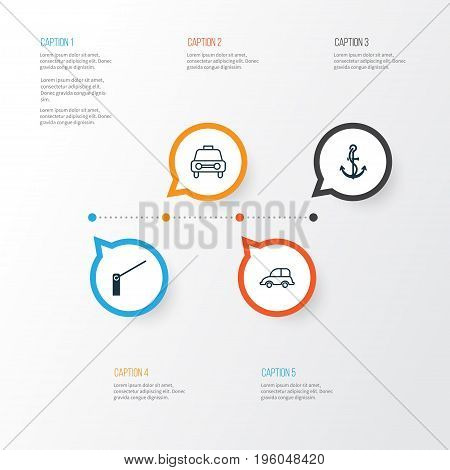 Transportation Icons Set. Collection Of Roadblock, Auto Car, Taxi And Other Elements