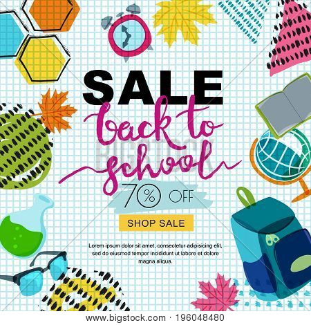 Vector Back To School Sale Banner, Poster Background. Hand Drawn Calligraphy Lettering And Doodle Sc