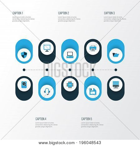 Hardware Colorful Icons Set. Collection Of File, PC, Earphones And Other Elements
