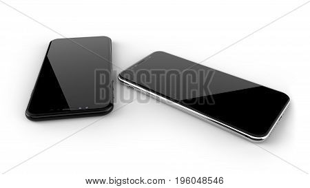 Black and silver smartphones with blank screen, isolated on white background. 3d illustration.