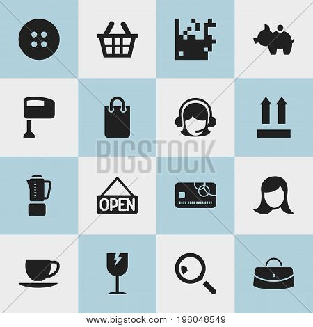 Set Of 16 Editable Business Icons. Includes Symbols Such As Research, Cracked Mug, Blend And More