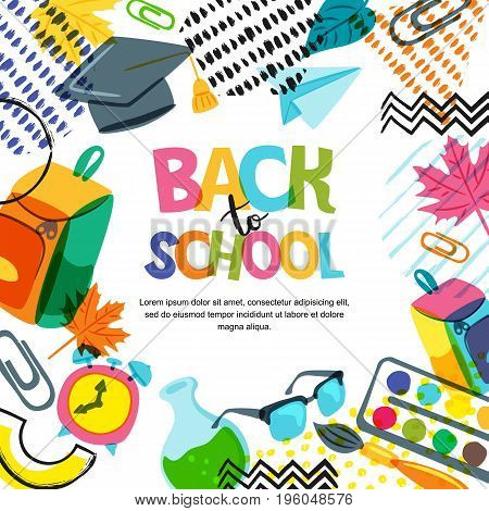 Vector Back To School Banner, Poster Background. Hand Drawn Lettering And Doodle Color School Suppli