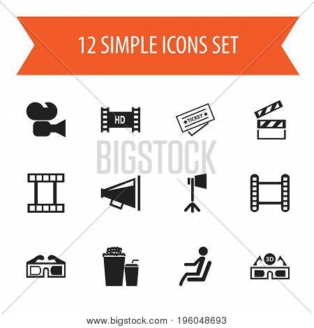 Set Of 12 Editable Filming Icons. Includes Symbols Such As 3D Glasses, Loudspeaker, Filmstrip And More