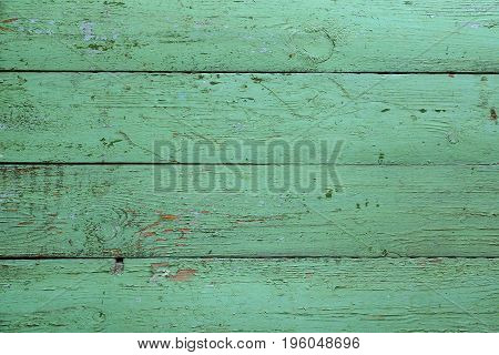 Old wooden green boards. Background. Fence or floor of green old boards