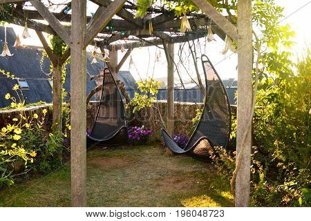 Wicker hanging chairs in the garden with green nature background and sun