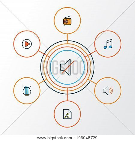 Music Colorful Outline Icons Set. Collection Of Play, Set, List And Other Elements