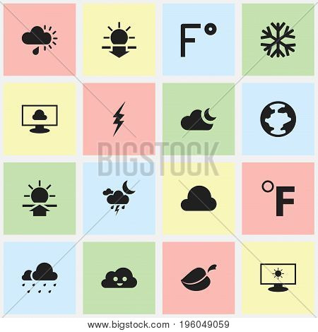 Set Of 16 Editable Weather Icons. Includes Symbols Such As Monitor, Plant, World And More