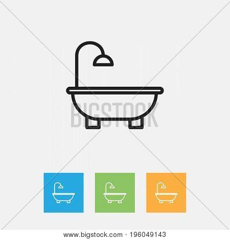Vector Illustration Of Cleaning Symbol On Bathroom Outline